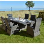 PLOß Rocking Dining Set grau/braun-meliert, Polyrattan, Tisch 220x100 cm, 6 Sessel braun