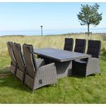 Ploß Rocking Gartenmöbelset 7-teilig mit Diningtisch Rocking 220x100cm Dunkelgrau|Braun
