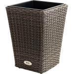 PLOß Rocking Pflanzgefäß grau/braun-meliert, Polyrattan, konisch, 28x28x40 cm, Kunststoffeinsatz braun
