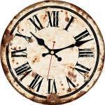 PMWLKJ 5 Muster Vintage Wanduhren Römische Zahl Design Stille Raumdekoration Wohnkultur Uhren Große Wanduhren 16 Zoll (40 cm) Rostfarbe