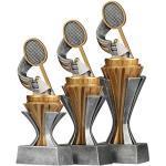 Pokalset Trophäen Federball/Badminton mit Sockel in Gold/Silber 3 Stück Größe S, M und L