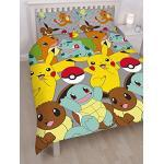 Pokemon Catch Repeat Print Design Bettwäsche-Set, Mehrfarbig, Doppel