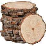 POKIENE 12 Stück Holzscheiben Runde 10-12cm Unvollendete Holz Log Scheiben Holz Scheiben Verzierung Holz Deko Baumscheiben für DIY Handwerk
