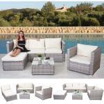Poly-Rattan-Garnitur Busto, Gartengarnitur Sitzgruppe Sofa Lounge-Set ' grau, Kissen creme