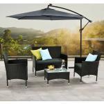 Polyrattan Gartenmöbel-Set Fort Myers – Sitzgruppe mit Tisch, Sofa & 2 Stühlen – Balkonmöbel für 4 Personen - Schwarz mit grauen Polstern - Juskys