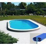 Pool Set komplett oval Ovalform Becken Stahlwand Swimmingpool Folie adriablau