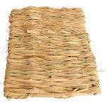 POPETPOP 2 stücke Handgewebte Natürliche Gras Matte Ungiftig Kauen Spielzeug Bett für Hamster Kaninchen Papagei 41x27 cm