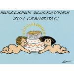 Postkarte A6 • 050 ''Tortenengel'' von Inkognito • Künstler: LORIOT DESIGN GMBH © Loriot • Geburtstag