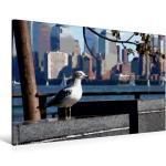 Premium Textil-Leinwand 120 cm x 80 cm quer Möwe auf Liberty [4056502364665] New York im Comic-Stil