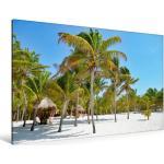 Premium Textil-Leinwand 120 cm x 80 cm quer Strand mit Palmen [4059477238504] Die schönsten Sandstrände an der Karibikküste - Mexiko