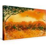 Premium Textil-Leinwand 75 cm x 50 cm quer Afrika [4056502217503] Idyllisches Afrika im Sonnenuntergang