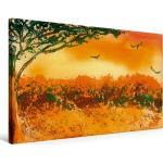 Premium Textil-Leinwand 90 cm x 60 cm quer Afrika [4056502217497] Idyllisches Afrika im Sonnenuntergang
