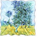 prettystern Damen 90cm 100% Seide Umschalg-Tuch Kunst-Druck bunt Claude Monet Felder im Frühling P1815