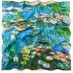 prettystern Damen Seidentwill bunt Seidentuch 90cm Monet Wasserlilien Seerosen Giverny P489