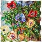 prettystern Damen Seidentwill bunt Seidentuch Kunstdruck 90cm Monet Anemonen in einer Vase P496