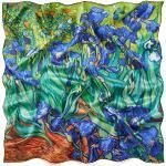 prettystern Damen-Tuch 100% Seide Umschlagtuch bunt Kunstdruck 90cm van Gogh Schwertlilien Iris P618