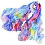 prettystern Damen XXL Leicht 100% Seiden-schal sarong Pareo bunt Sommer-Tuch bunt Floral Druck - Blau