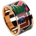 prettystern Farbenfroh Emaillierter vergoldet Schal-Ring Tuch-Ring mit Samt Säckchen - Gold 3