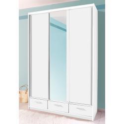 priess Schiebetürenschrank, weiß, Schubladen: 3 - Türen: 3 - mit Spiegel, weiß