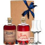 Prinz Geschenk-Set Rum Coconut Likör mit Inländerrum & Rum Kirsch Likör mit Inländerrum + 2 x Kelch-Glas