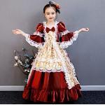 Prinzessin Maria Antonietta Rokoko Viktorianisch Mittelalterlich Urlaubskleid Kleid Austattungen Kostüm Ballkleid Mädchen Kinder Kostüm Rot Golden Vintage Cos Lightinthebox
