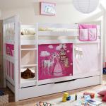 Prinzessin Stockbett in Weiß und Pink Vorhang und Ausziehbett