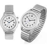Profi Herren Sprechende Armbanduhr Silber Uhr Blindenuhr Zeitansage Kalender