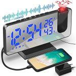 Projektionswecker Radiowecker mit USB-Anschluss Wecker Digital mit Projektion Dual-Alarm 12 / 24H LED-Anzeige 180° Projektor 4 Projektionshelligkeit für Schlafzimmer Büro