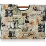 Prym Vintage Stil Strick-/Hobby Tasche mit grünem Rand und Holzgriff, Baumwoll-Mischgewebe, Mehrfarbig, groß