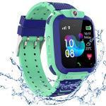 PTHTECHUS Kinder GPS Intelligente Uhr Wasserdicht, Smartwatch GPS Tracker mit Kinder SOS Handy Touchscreen Spiel Kamera Voice Chat Wecker für Jungen Mädchen Student Geschenk (S12 GPS Blau)