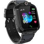PTHTECHUS Kinder GPS Intelligente Uhr Wasserdicht, Smartwatch GPS Tracker mit Kinder SOS Handy Touchscreen Spiel Kamera Voice Chat Wecker für Jungen Mädchen Student Geschenk (S12 GPS Schwarz)