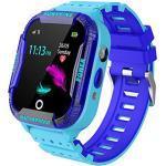 PTHTECHUS Kinder GPS WiFi Intelligente Uhr Wasserdicht, Smartwatch mit Kinder SOS Handy Touchscreen Spiel Kamera Voice Chat Wecker für Jungen Mädchen Student Geschenk Blau