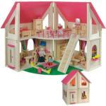 Puppenhaus klappbar inkl. 21 tlg. Möbelset und 4 Puppen bunt
