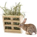 quanjucheer Meerschweinchen-Heu-Futterstation für Kaninchen, Alfalfa-Spender, Heukrippe für kleine Tiere, Holzfarbe