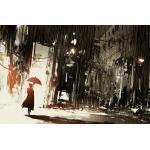 queence Leinwandbild »Frau im Regen«, grau