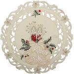 Quinnyshop Bezaubernder Weihnachten Tischläufer/Tischdeckchen Creme-Weiß mit Rot Kerzen Glocken Stickerei - Größe wählbar (ca. 30 cm Rund)