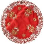 Quinnyshop Weihnachten Tischläufer Tischdecke Dunkelrot Leinenoptik Rot Kerzen Stickerei (ca. 85 cm Rund)