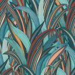 Rasch Tapeten 541250 aus der Kollektion Amazing-Vliestapete mit Blätter-Motiv in Rost-Braun, Rot und Petrol-Blau mit textiler Struktur – 10,05m x 53cm (L x B) Tapete