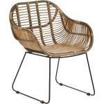 Rattanstuhl VENUS Rattan-Stühle Korb-Stuhl Korb-Sessel - braun - Retro 50er Lounge Loft Esszimmer Garten Küche Bistro Balkon Terrasse mit Armlehne