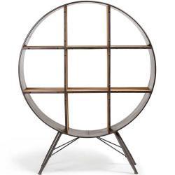 Raumteilerregal aus Stahl rund Tanne Massivholz
