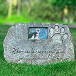 Re-Call Grabstein für Hunde oder Katzen, personalisierbar, mit wasserdichtem Foto, für Rasen und Garten, Schwarz