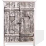Rebecca Mobili Holzschrank Shabby Chic, Buffetschrank aus Holz, 2 Tren, Weiá Grau, Kche Badezimmer - 70 x 51 x 30 cm (HxLxB) - Art. RE4563