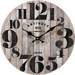 Rebecca Mobili Möbeluhr, Vintage Uhr, Schwarz Braun, MDF, für Wohnzimmer Küche, Geschenkidee - Maße: Ø 33,8 x B 4 cm - Art. RE6464