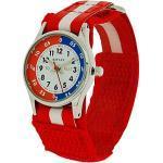 Reflex Kinderuhr Unisex rot & weißes Stoffarmband mit Klettverschluss REFK0002