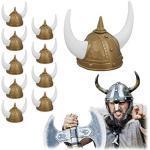 Relaxdays 10 x Wikinger Helm, 2 Hörner, Kunststoff, Gallier Helm Damen & Herren, Kopfbedeckung Karneval, Fasching, Gold/weiß