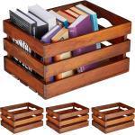 relaxdays Holzkiste »4 x Holzkiste Vintage dunkelbraun groß«