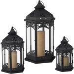 Relaxdays Laterne 10025488, für Kerzen, für außen, Metall, schwarz, 3-teilig