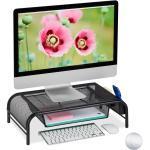 relaxdays »Monitorständer mit Schublade« Monitor-Halterung, Schwarz