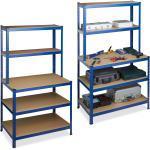 relaxdays Schwerlastregal »2 x Schwerlastregal mit Werkbank blau«