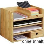 Relaxdays Tisch-Organizer Bambus, Holz, 6 Fächer und 1 Schublade, braun